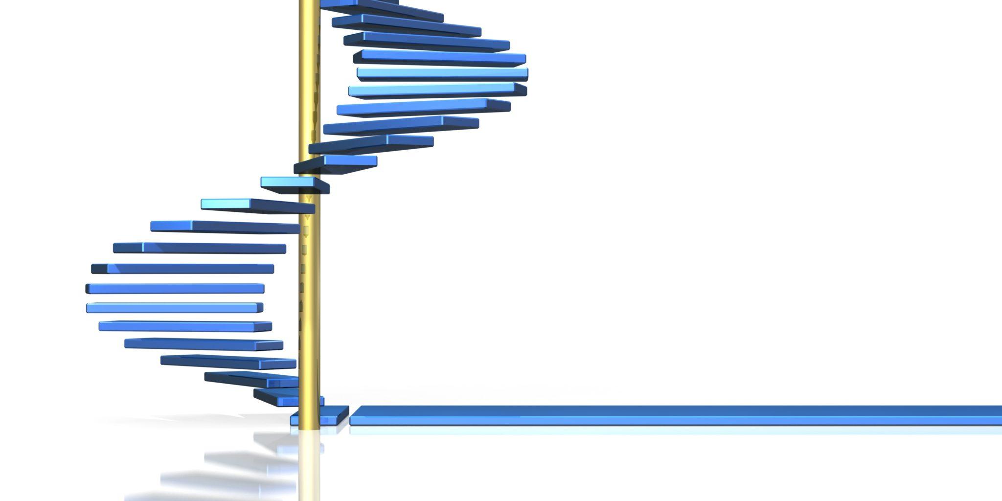 青い螺旋階段は、将来を示唆しています
