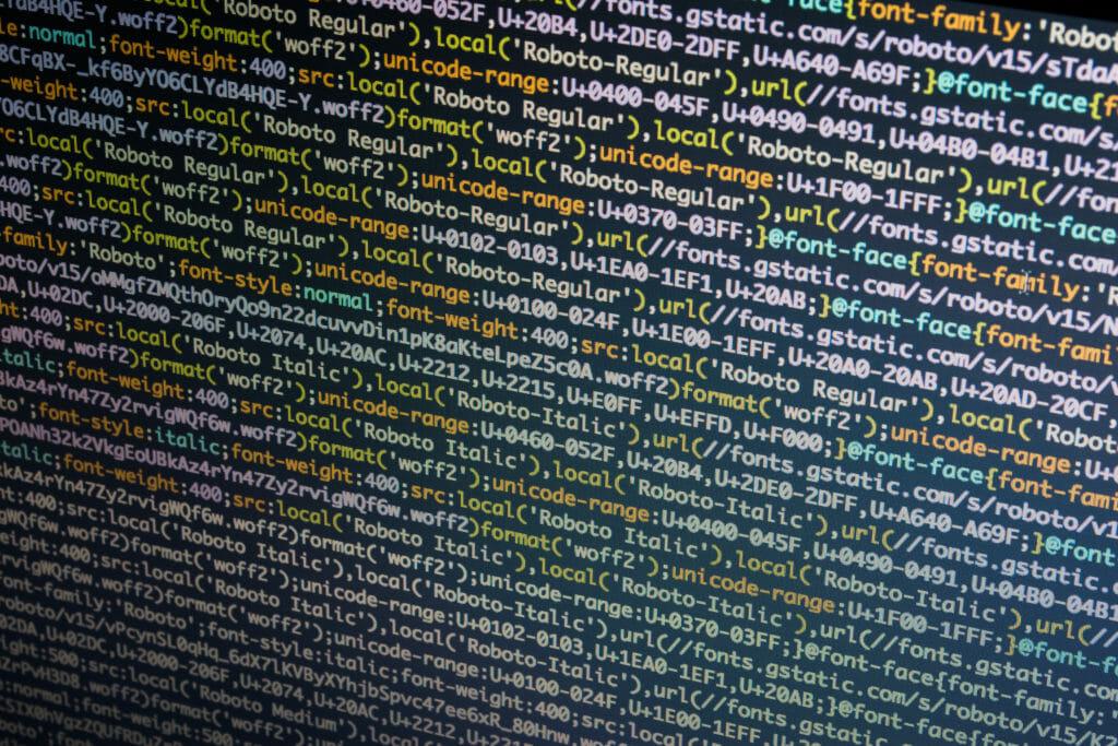 コンピュータ上のプログラミングコード