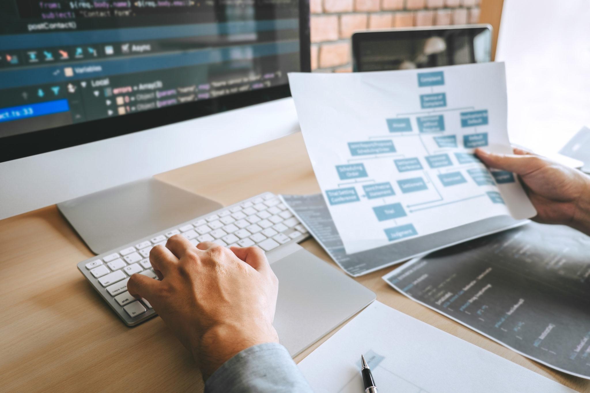 ソフトウェアのウェブサイトを扱うプロの開発者プログラマーdes