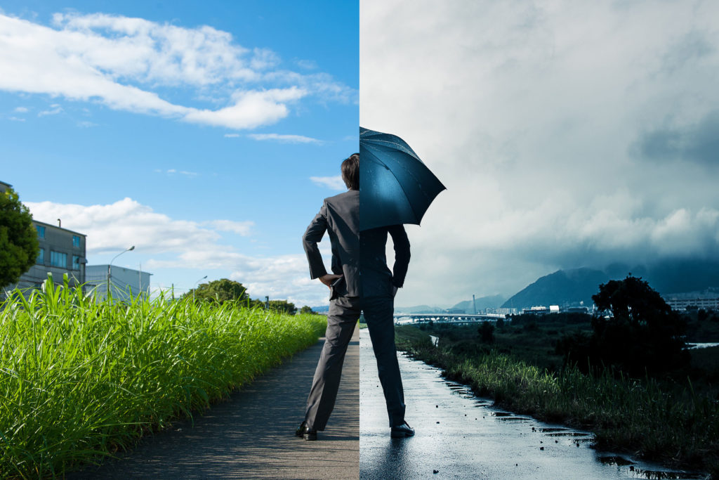 ビジネスマン 晴と雨 違い