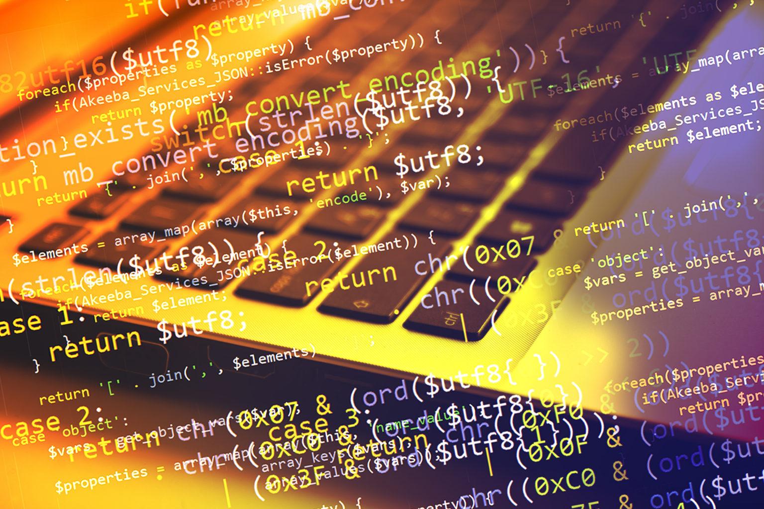 コンピューター (ノートブック) キーボードとプログラム コードでコラージュします。