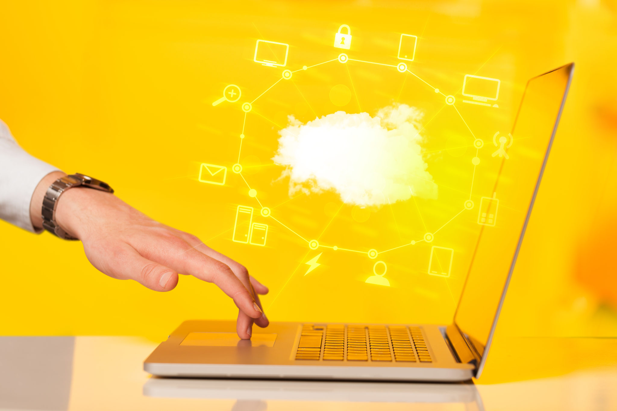 Hand working with a Cloud Computing diagram
