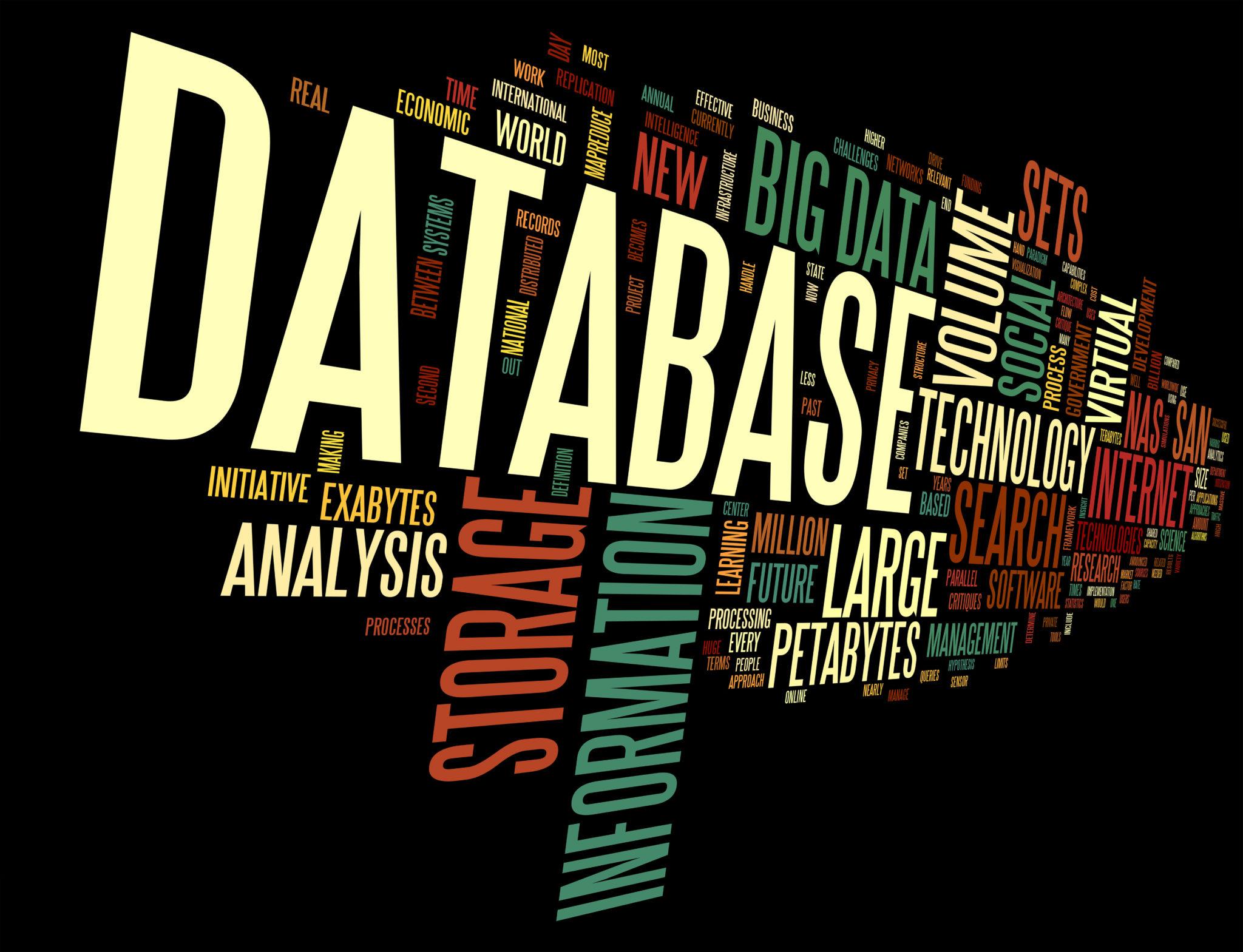 黒地に複数の言葉。その中にデータベースの文字