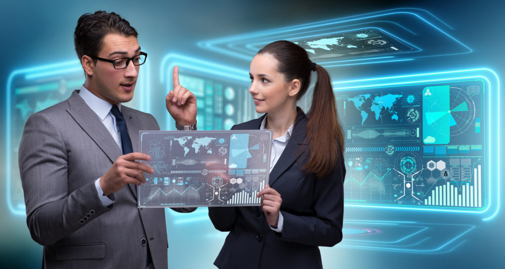 ビジネスマンやビジネスウーマンのデータを議論のペア