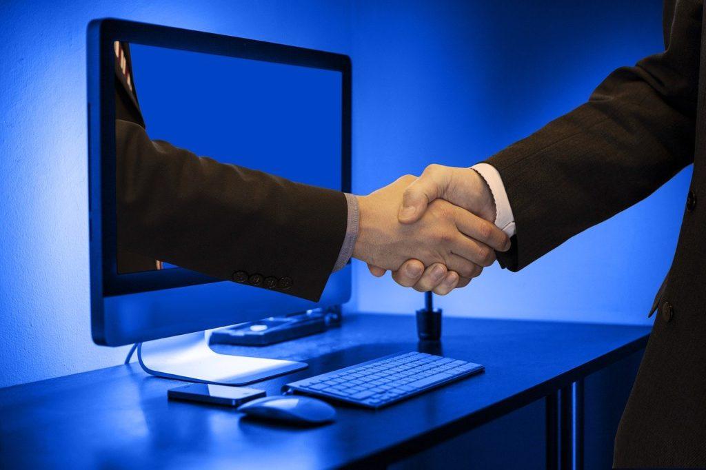 handshake, hands, monitor