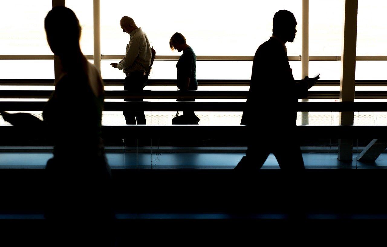 people, walking, airport