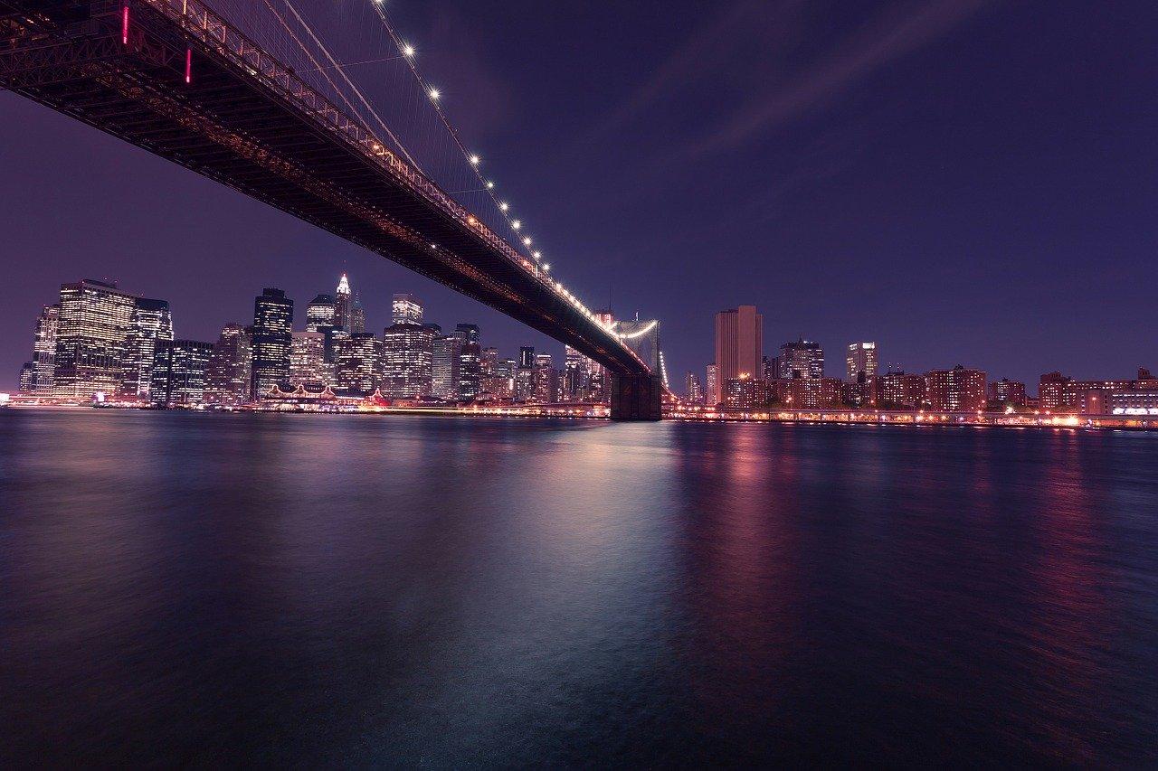 new york city, brooklyn bridge, night