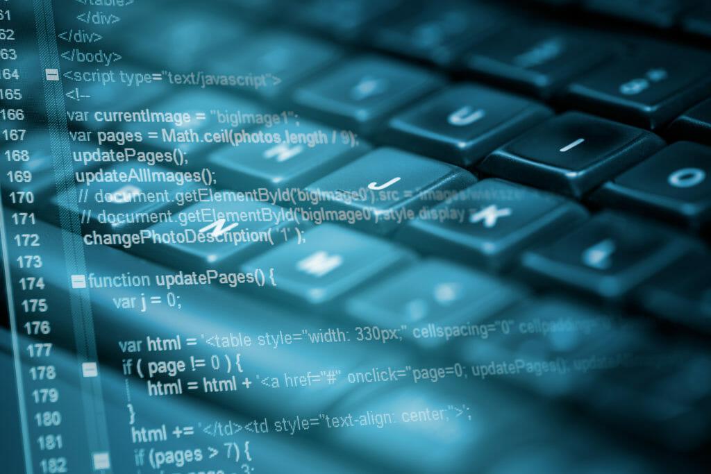 プログラムコードとキーボード