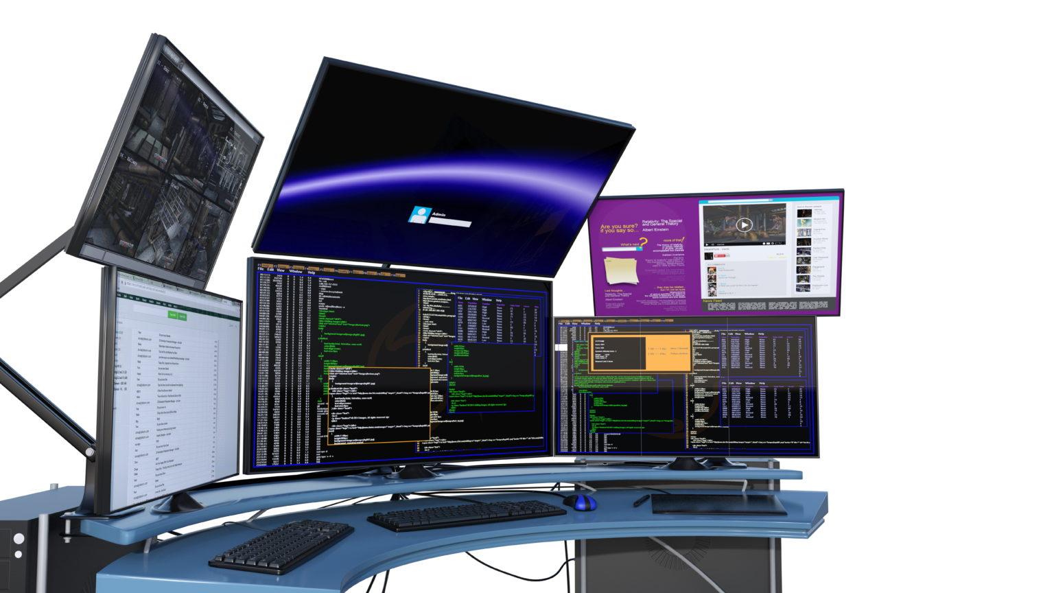 複数のパソコンディスプレイ
