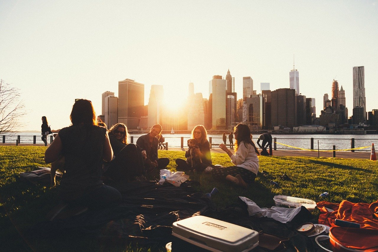picnic, outdoors, group