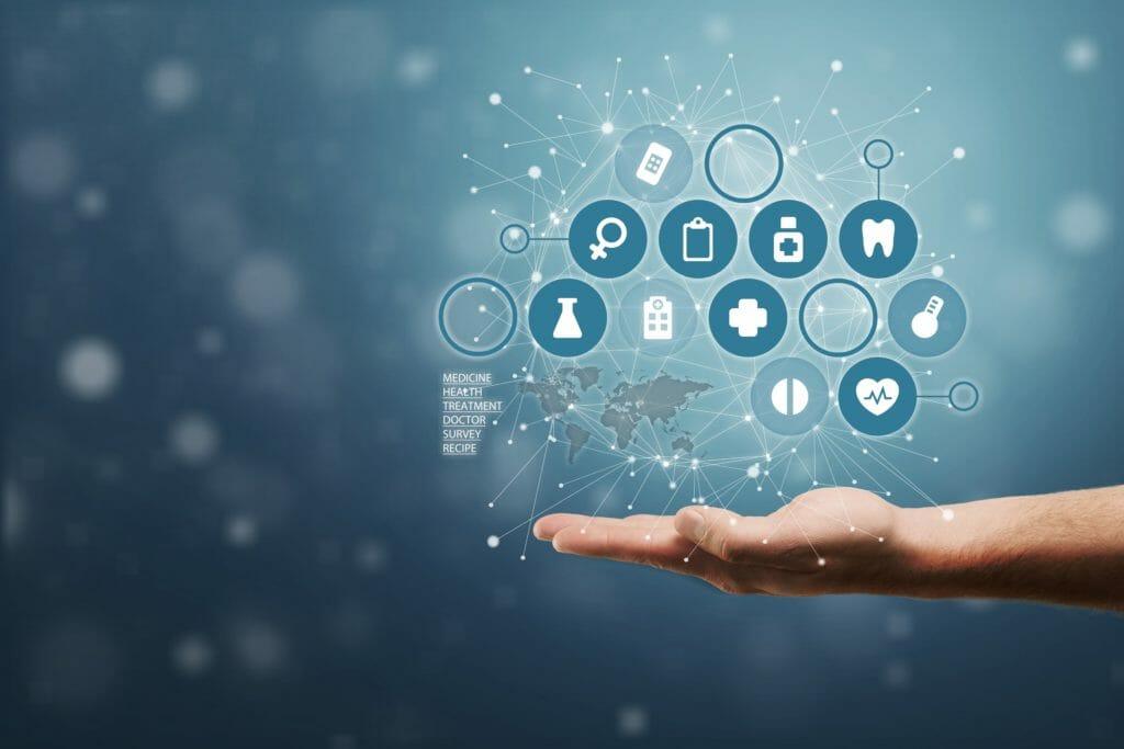 プラス記号の仮想を持っている手は、コピースペースで肯定的なもの(特典、個人的な開発、ソーシャルネットワーク、健康保険など)を提供することを意味します
