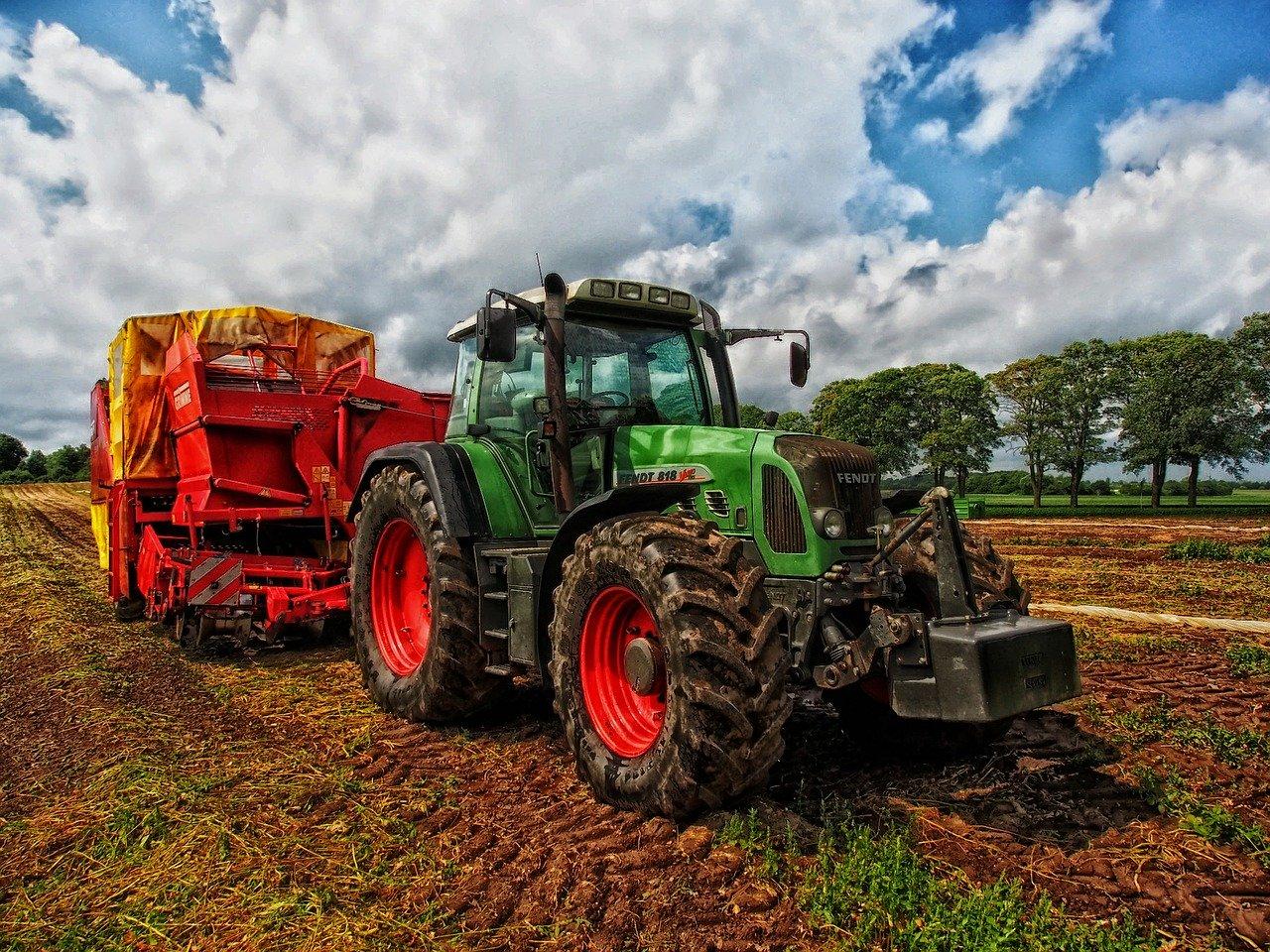 tractor, grain mixer, rural