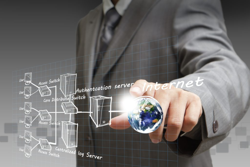 15064802 - businessman hand points the internet system chart