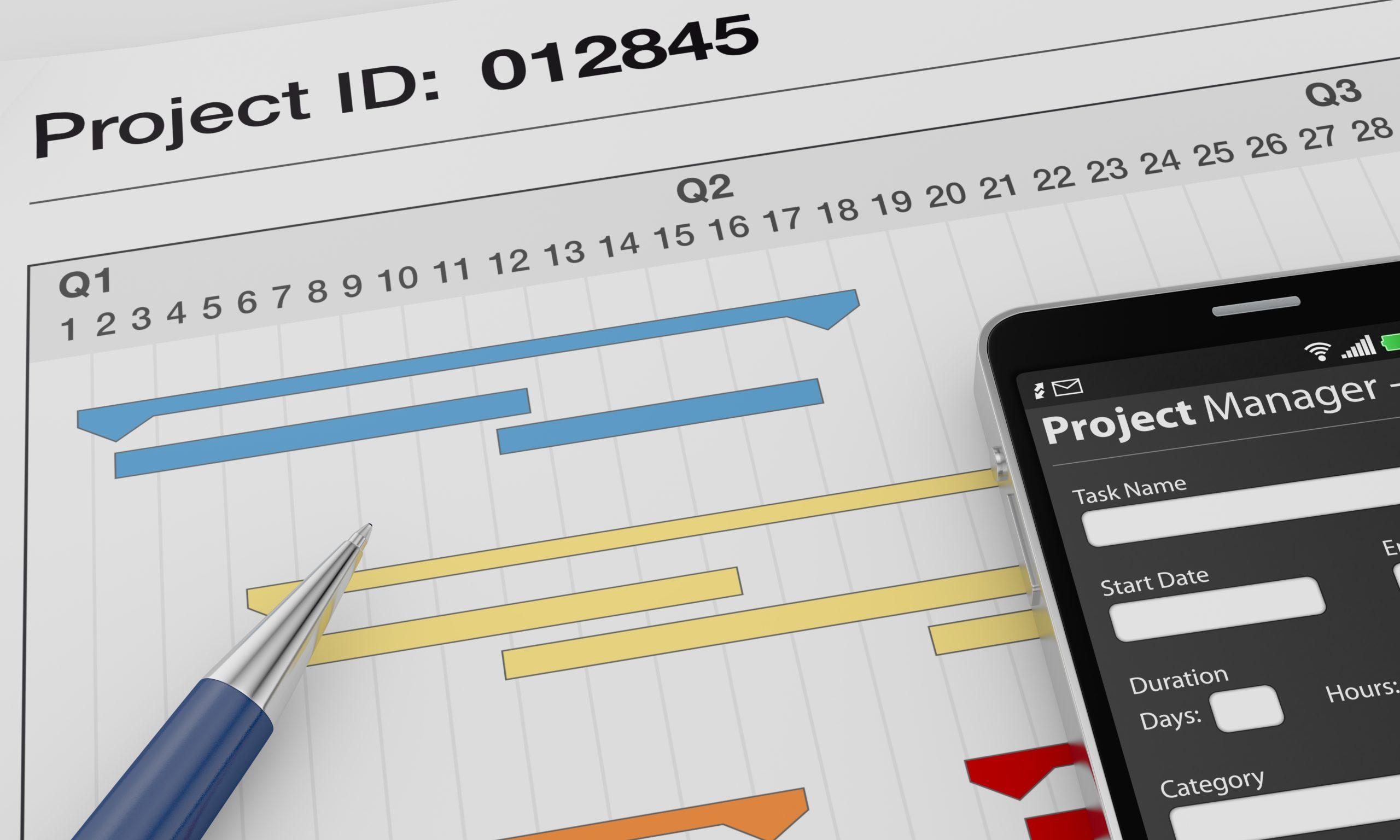 プロジェクトマネージャーアプリとガントチャートを含むドキュメントを含む1つの携帯電話