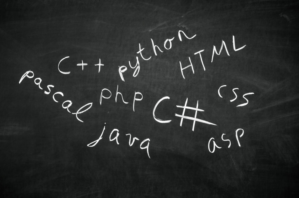 Several programming languages ​​names written in on the blackboard