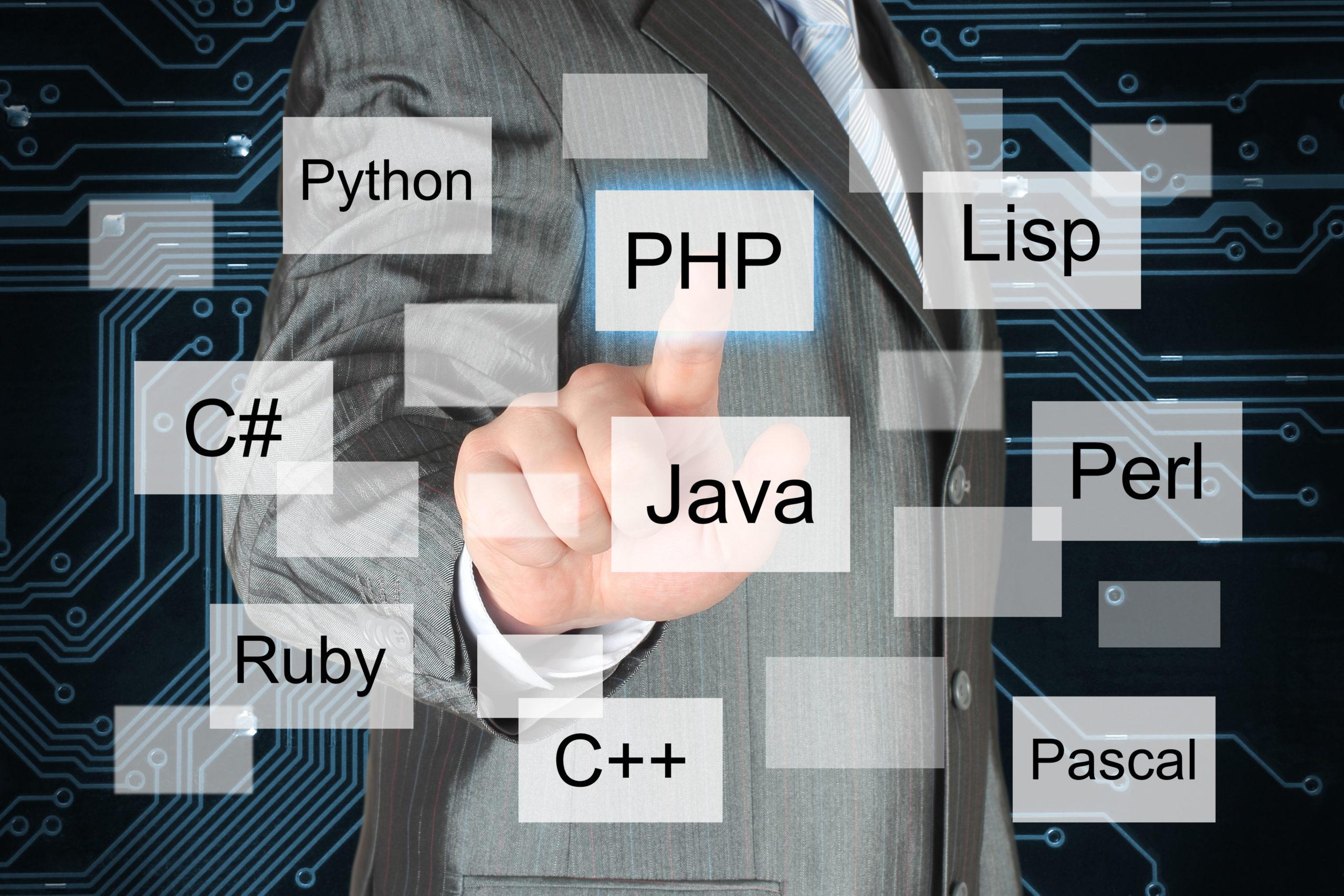仮想的なプログラミング言語を押す男性