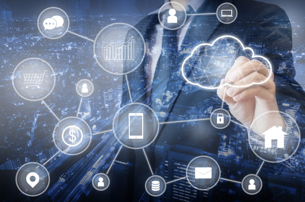 Double exposure of Professional businessman connecting cloud tec