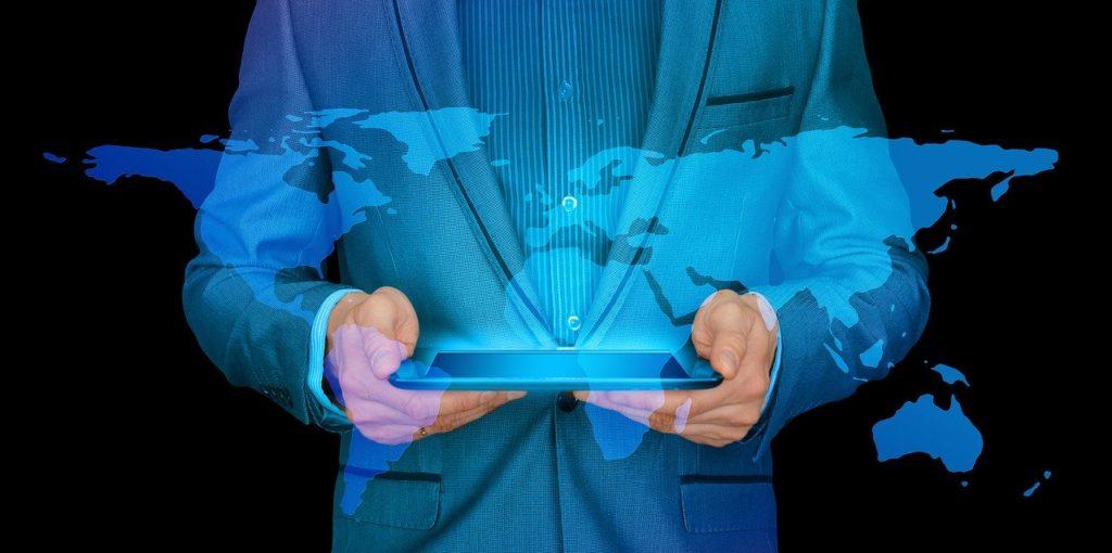 businessman, internet, continents