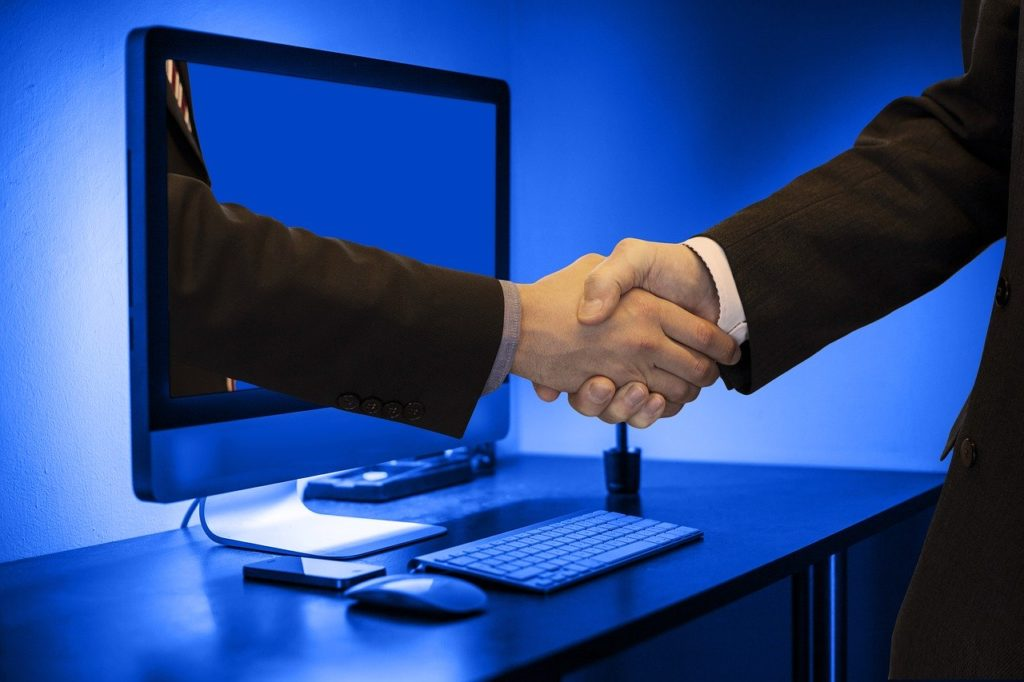 handshake, hands, monitor