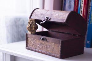箱,財源,フクロウ,カバー,宝