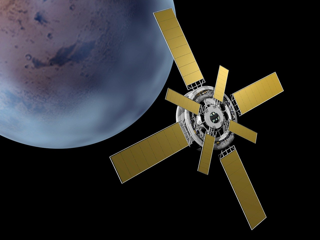 satellite, solar panels, space