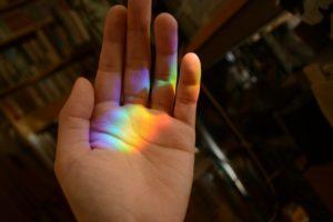 虹,手,きれい,肌色