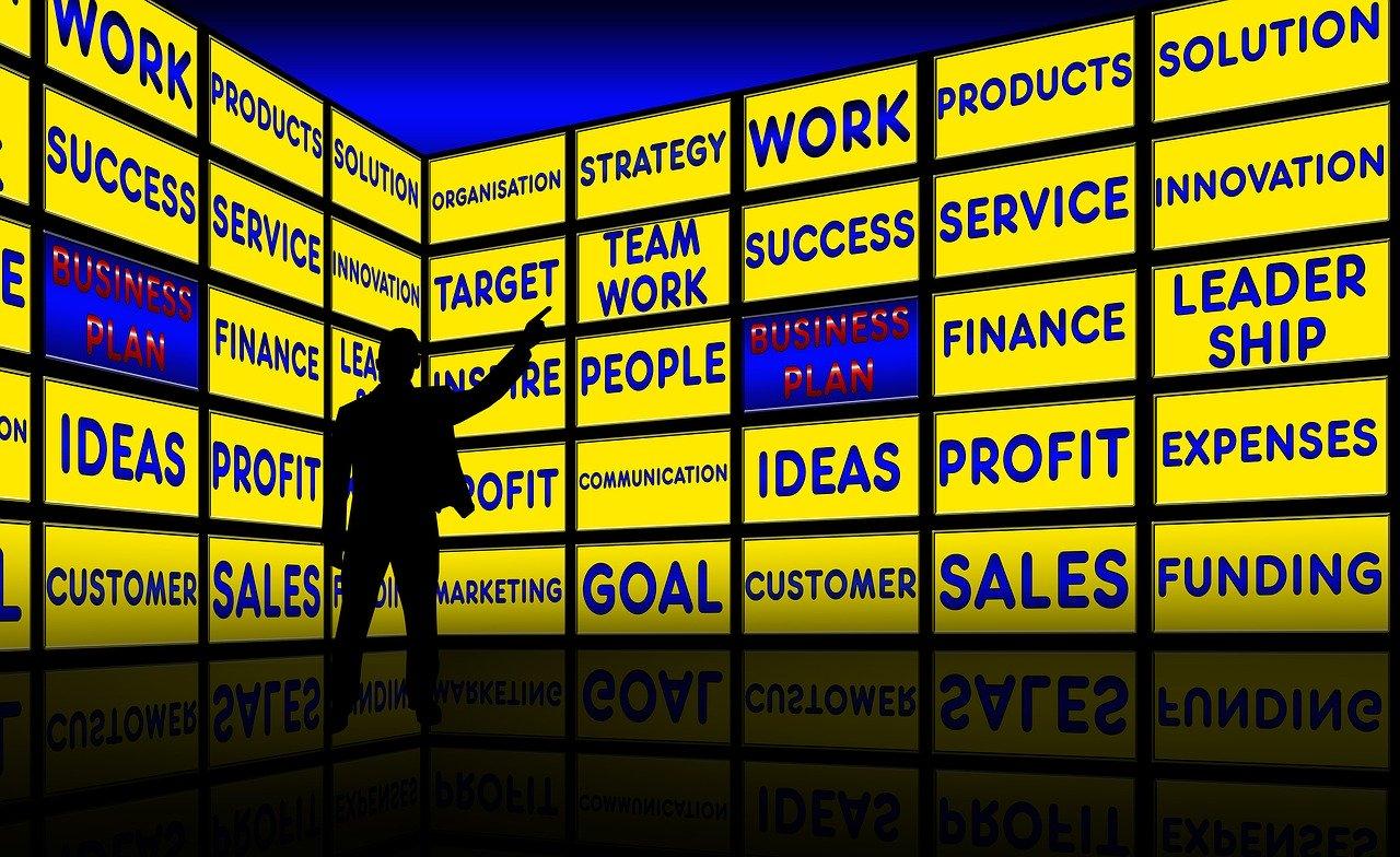 business plan, monitor wall, presentation