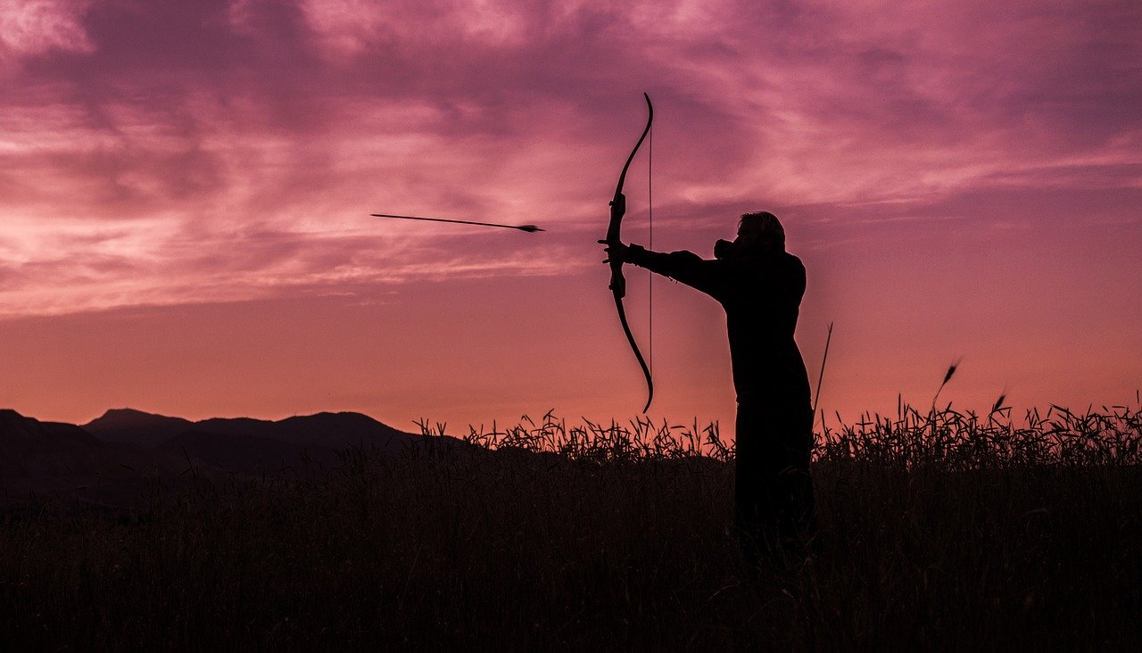 archer, archery, sunset