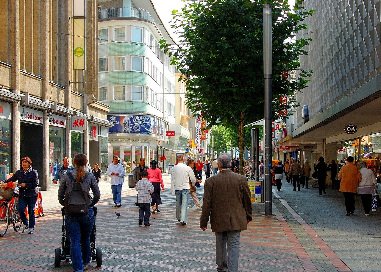 pedestrian zone, shopping street, passers by