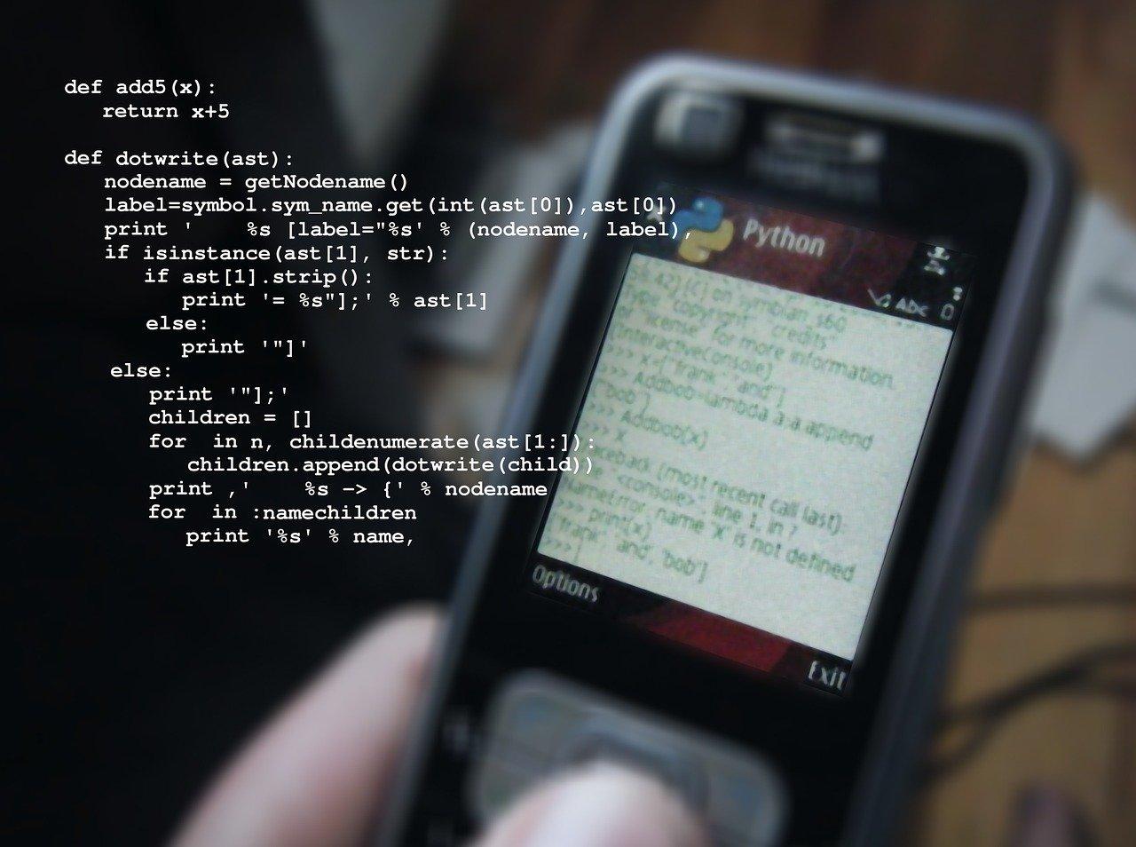 mobile phone, python, programming language